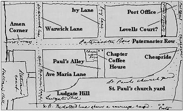 Map showing the Chapter Coffee House by Patrick Bronte