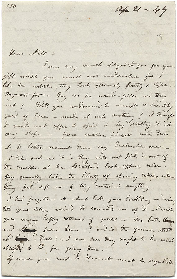 Charlotte Bronte letter