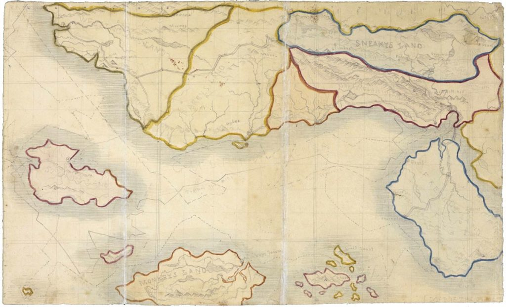 Map of Angria drawn by Branwell Bronte