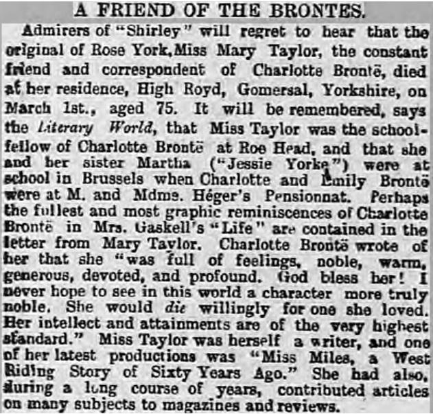 Mary Taylor obituary 1893
