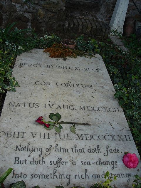 Percy Shelley's grave in Rome lies near that of John Keats
