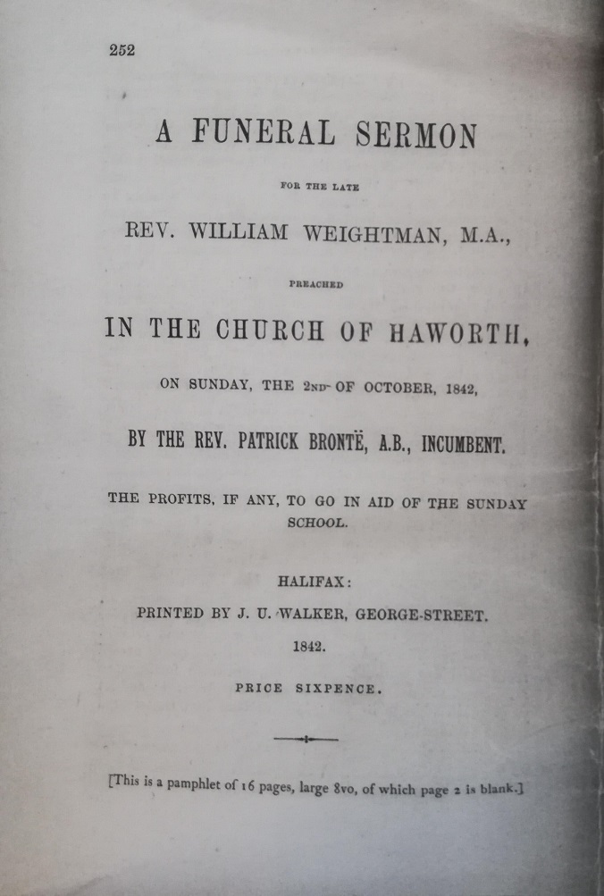 William Weightman funeral sermon