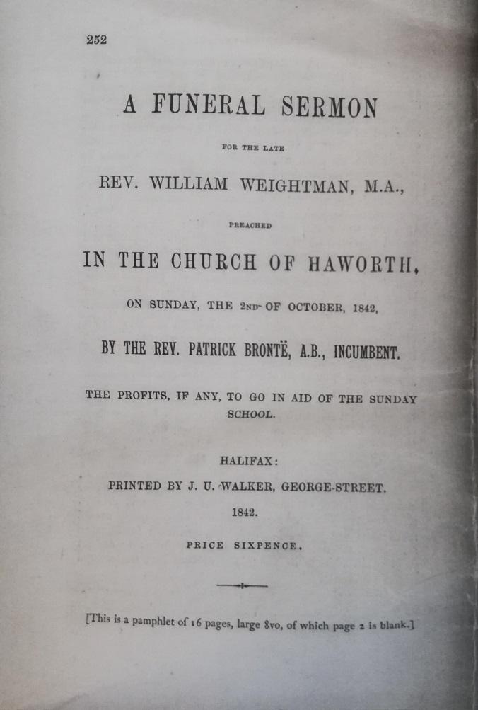 William Weightman funeral sermon