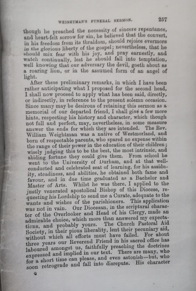 William Weightman funeral sermon page