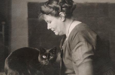 May Sinclair with cat