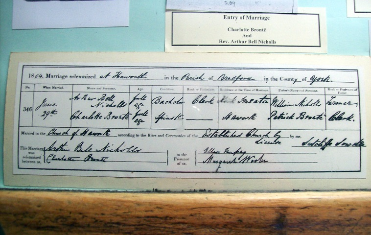 Charlotte Bronte's Wedding certificate