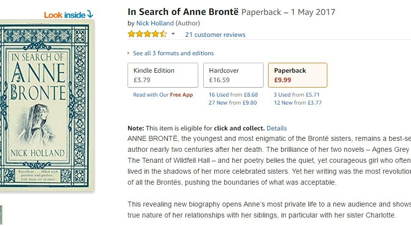 In Search Of Anne Bronte paperback Amazon